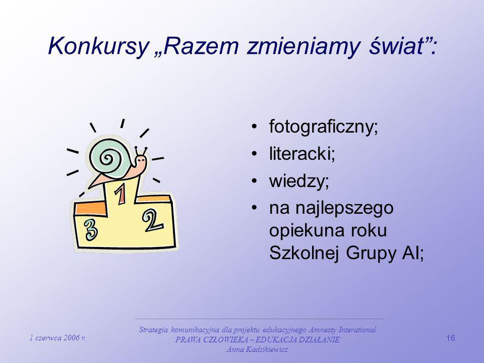 1 czerwca 2006 r. Strategia komunikacyjna dla projektu edukacyjnego Amnesty Interational PRAWA CZŁOWIEKA – EDUKACJA DZIAŁANIE Anna Kadzikiewicz 16 Kon