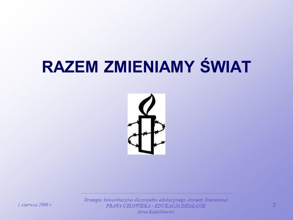 1 czerwca 2006 r. Strategia komunikacyjna dla projektu edukacyjnego Amnesty Interational PRAWA CZŁOWIEKA – EDUKACJA DZIAŁANIE Anna Kadzikiewicz 2 RAZE