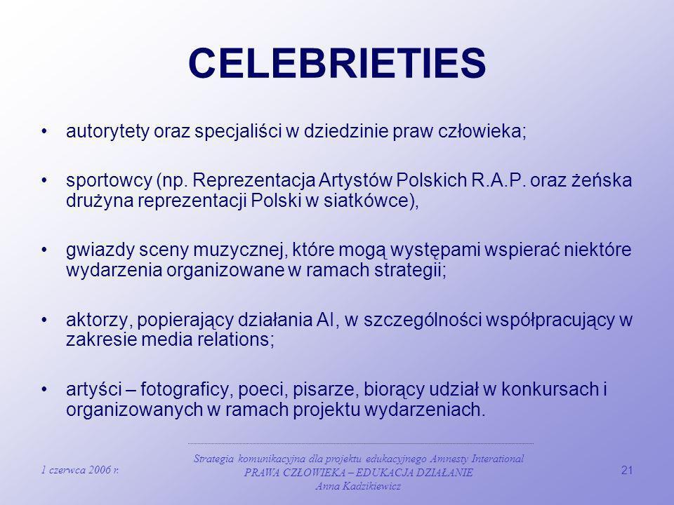 1 czerwca 2006 r. Strategia komunikacyjna dla projektu edukacyjnego Amnesty Interational PRAWA CZŁOWIEKA – EDUKACJA DZIAŁANIE Anna Kadzikiewicz 21 CEL
