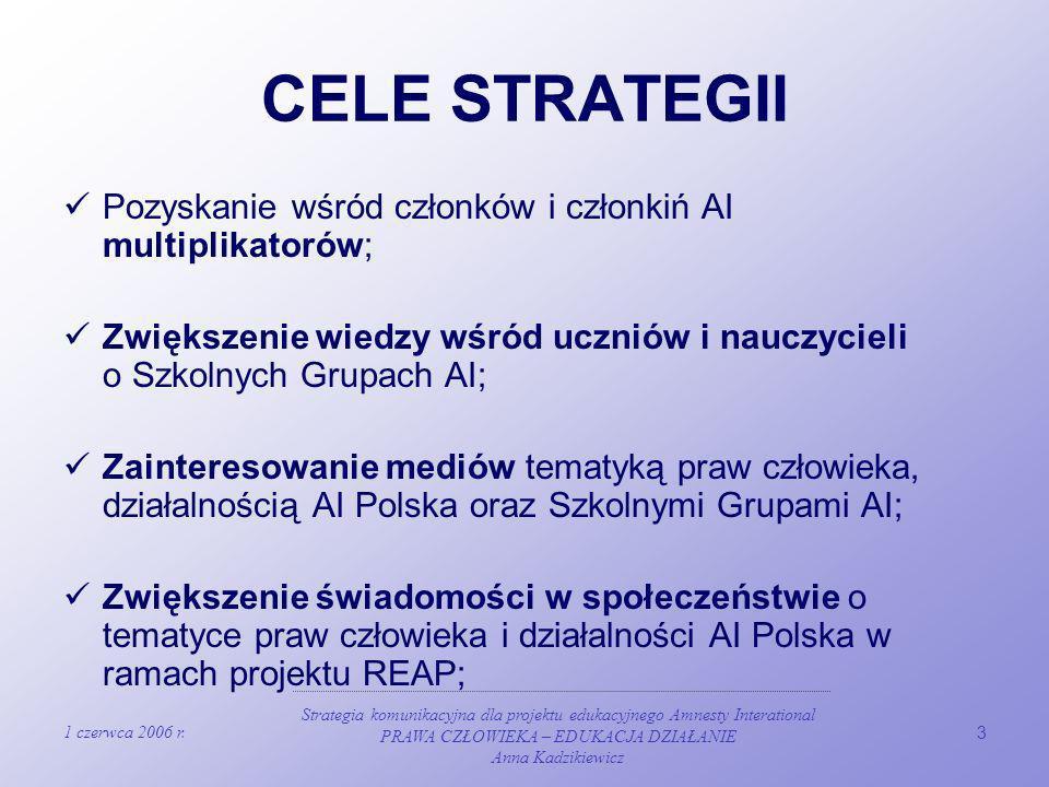 1 czerwca 2006 r. Strategia komunikacyjna dla projektu edukacyjnego Amnesty Interational PRAWA CZŁOWIEKA – EDUKACJA DZIAŁANIE Anna Kadzikiewicz 3 CELE