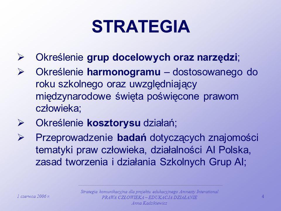 1 czerwca 2006 r. Strategia komunikacyjna dla projektu edukacyjnego Amnesty Interational PRAWA CZŁOWIEKA – EDUKACJA DZIAŁANIE Anna Kadzikiewicz 4 STRA