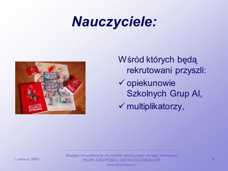 1 czerwca 2006 r. Strategia komunikacyjna dla projektu edukacyjnego Amnesty Interational PRAWA CZŁOWIEKA – EDUKACJA DZIAŁANIE Anna Kadzikiewicz 8 Nauc