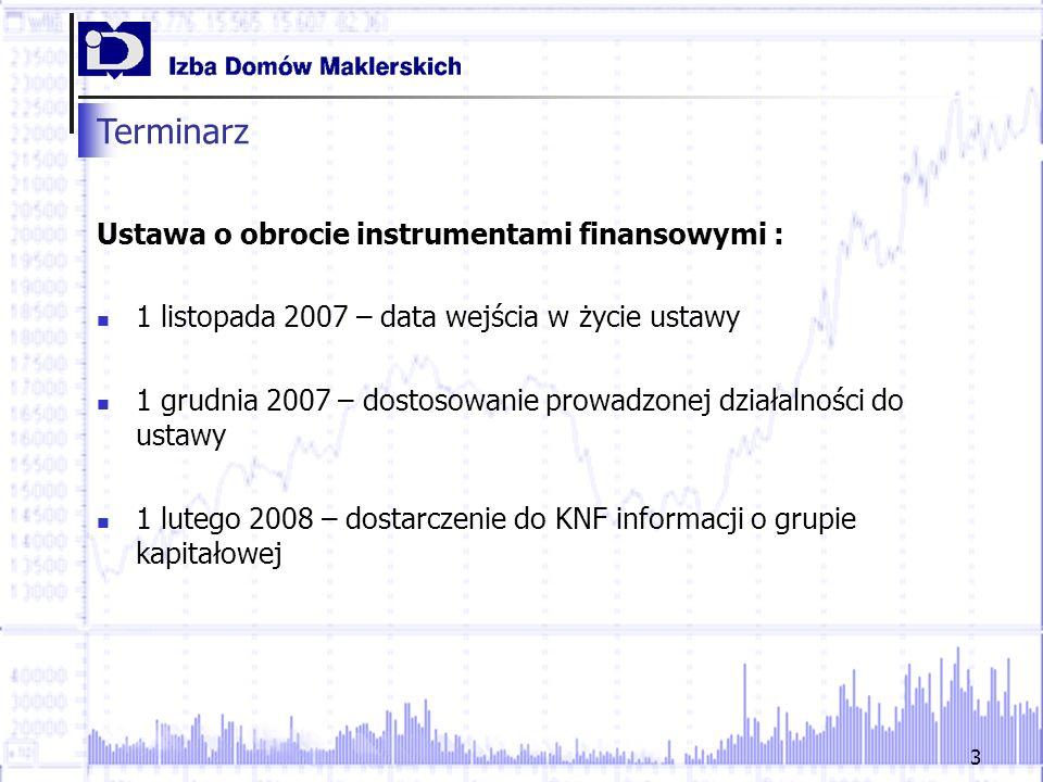 3 Terminarz Ustawa o obrocie instrumentami finansowymi : 1 listopada 2007 – data wejścia w życie ustawy 1 grudnia 2007 – dostosowanie prowadzonej dzia