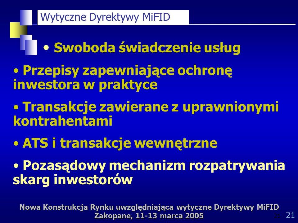 Nowa Konstrukcja Rynku uwzględniająca wytyczne Dyrektywy MiFID Zakopane, 11-13 marca 2005 21 Wytyczne Dyrektywy MiFID Swoboda świadczenie usług Przepisy zapewniające ochronę inwestora w praktyce Transakcje zawierane z uprawnionymi kontrahentami ATS i transakcje wewnętrzne Pozasądowy mechanizm rozpatrywania skarg inwestorów
