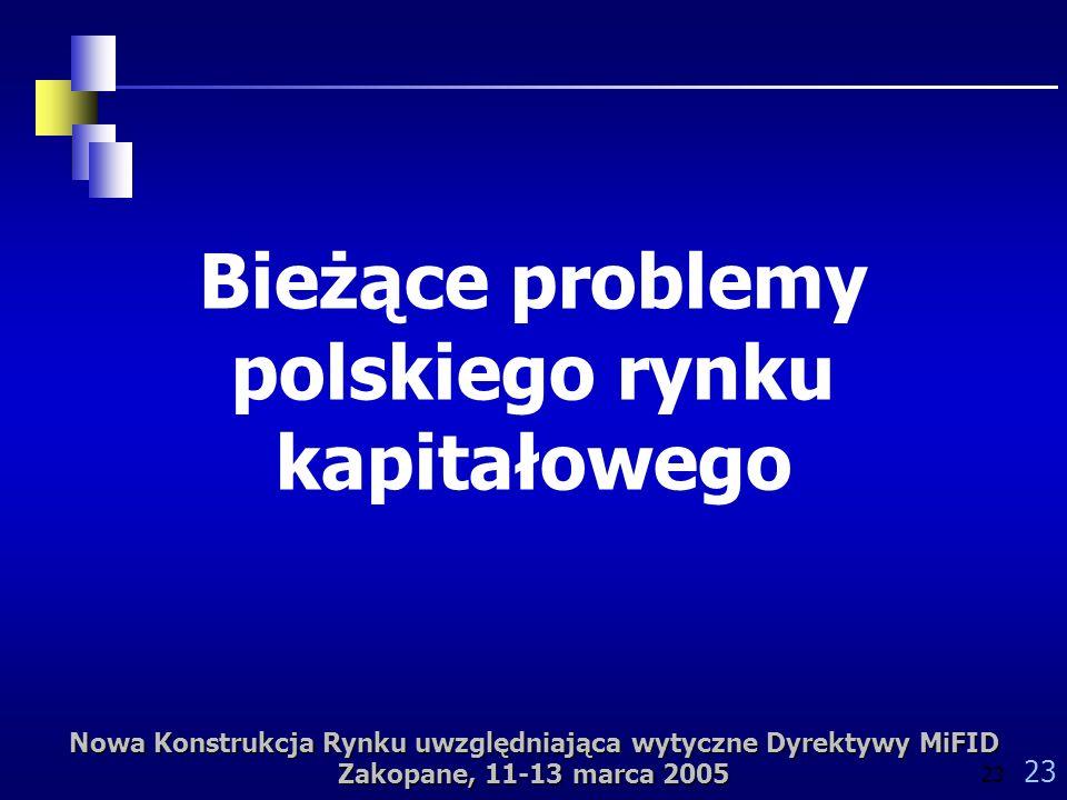 Nowa Konstrukcja Rynku uwzględniająca wytyczne Dyrektywy MiFID Zakopane, 11-13 marca 2005 23 Bieżące problemy polskiego rynku kapitałowego