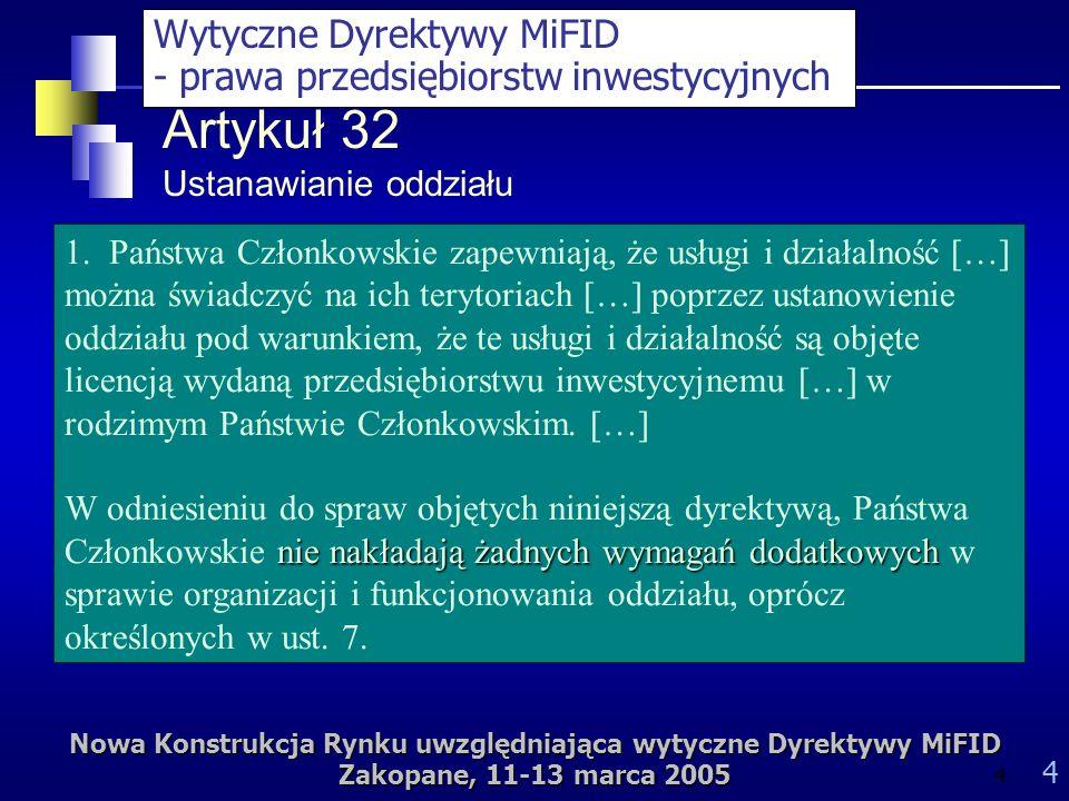 Nowa Konstrukcja Rynku uwzględniająca wytyczne Dyrektywy MiFID Zakopane, 11-13 marca 2005 4 4 Artykuł 32 Ustanawianie oddziału 1.