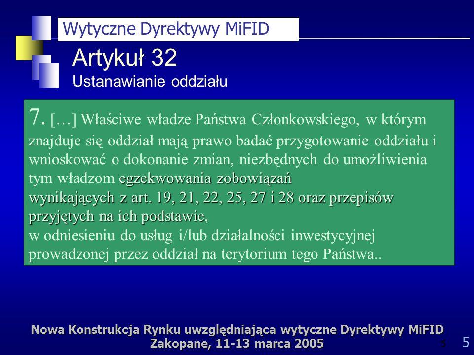 Nowa Konstrukcja Rynku uwzględniająca wytyczne Dyrektywy MiFID Zakopane, 11-13 marca 2005 5 5 Artykuł 32 Ustanawianie oddziału egzekwowania zobowiązań 7.