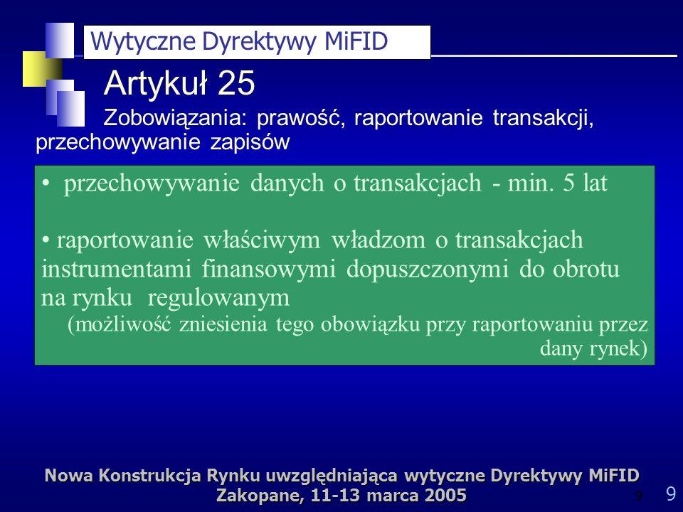 Nowa Konstrukcja Rynku uwzględniająca wytyczne Dyrektywy MiFID Zakopane, 11-13 marca 2005 9 9 przechowywanie danych o transakcjach - min.
