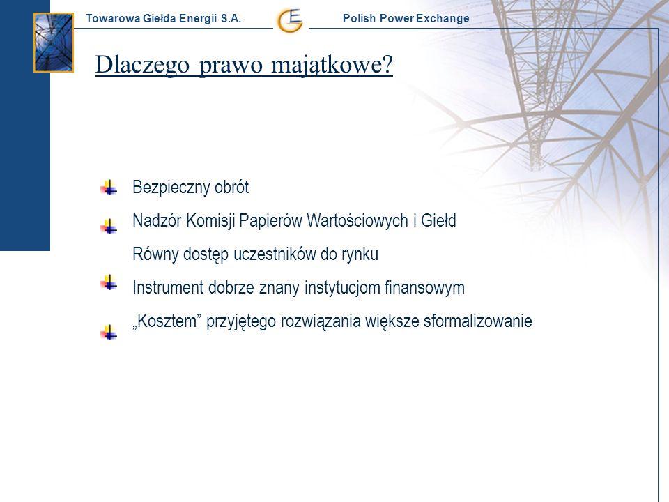 Towarowa Giełda Energii S.A. Polish Power Exchange Dlaczego prawo majątkowe? Bezpieczny obrót Nadzór Komisji Papierów Wartościowych i Giełd Równy dost