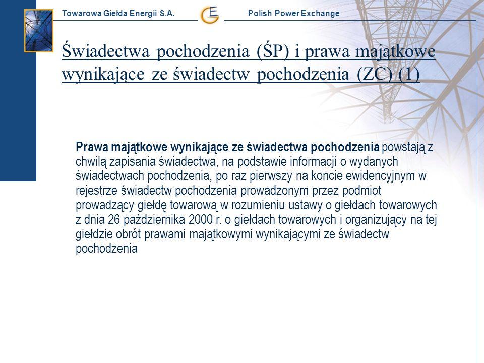 Towarowa Giełda Energii S.A. Polish Power Exchange Świadectwa pochodzenia (ŚP) i prawa majątkowe wynikające ze świadectw pochodzenia (ZC) (1) Prawa ma