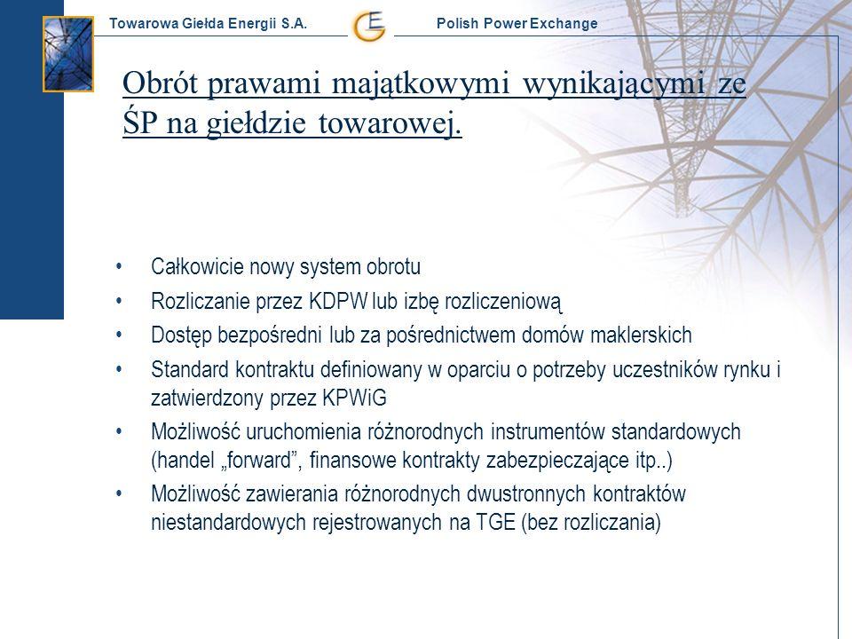 Towarowa Giełda Energii S.A. Polish Power Exchange Obrót prawami majątkowymi wynikającymi ze ŚP na giełdzie towarowej. Całkowicie nowy system obrotu R