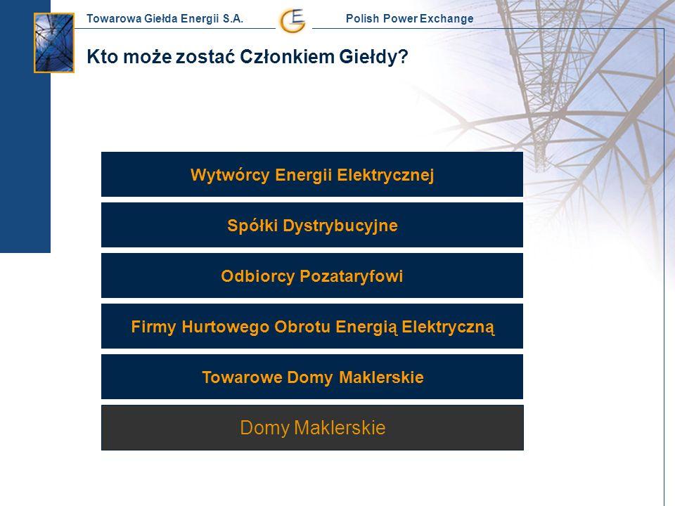 Towarowa Giełda Energii S.A. Polish Power Exchange Wytwórcy Energii Elektrycznej Spółki Dystrybucyjne Firmy Hurtowego Obrotu Energią Elektryczną Odbio