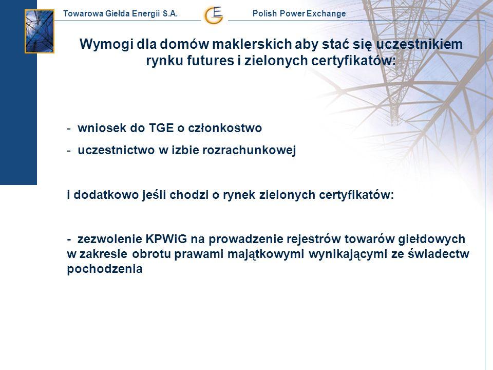 Towarowa Giełda Energii S.A. Polish Power Exchange Wymogi dla domów maklerskich aby stać się uczestnikiem rynku futures i zielonych certyfikatów: - wn