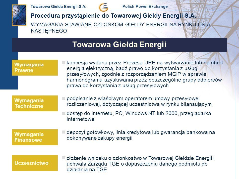 Towarowa Giełda Energii S.A. Polish Power Exchange Towarowa Giełda Energii Wymagania Prawne Wymagania Techniczne Uczestnictwo Wymagania Finansowe konc