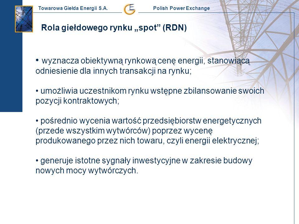 Towarowa Giełda Energii S.A. Polish Power Exchange Rola giełdowego rynku spot (RDN) wyznacza obiektywną rynkową cenę energii, stanowiącą odniesienie d