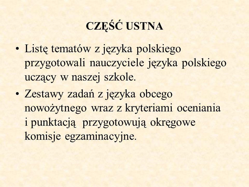CZĘŚĆ USTNA Listę tematów z języka polskiego przygotowali nauczyciele języka polskiego uczący w naszej szkole. Zestawy zadań z języka obcego nowożytne