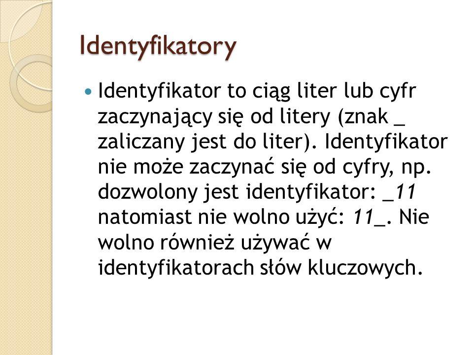 Identyfikatory Identyfikator to ciąg liter lub cyfr zaczynający się od litery (znak _ zaliczany jest do liter). Identyfikator nie może zaczynać się od
