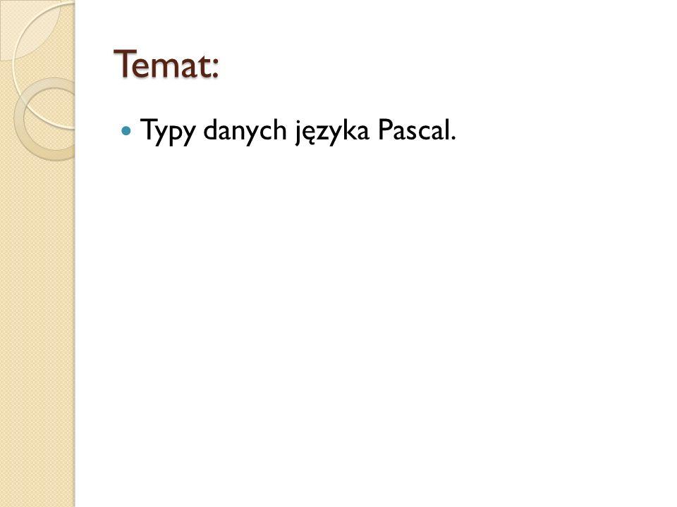 Temat: Typy danych języka Pascal.