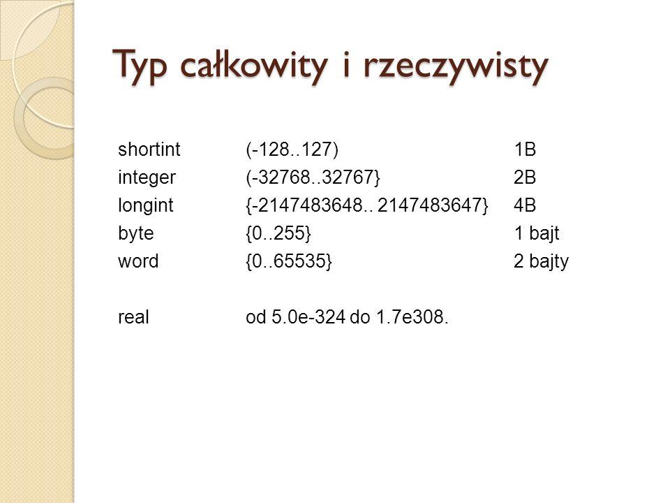 Typ całkowity i rzeczywisty shortint (-128..127) 1B integer (-32768..32767} 2B longint {-2147483648.. 2147483647} 4B byte {0..255} 1 bajt word {0..655