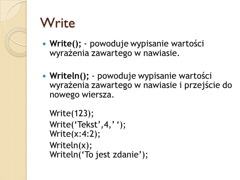 Write Write(); - powoduje wypisanie wartości wyrażenia zawartego w nawiasie. Writeln(); - powoduje wypisanie wartości wyrażenia zawartego w nawiasie i