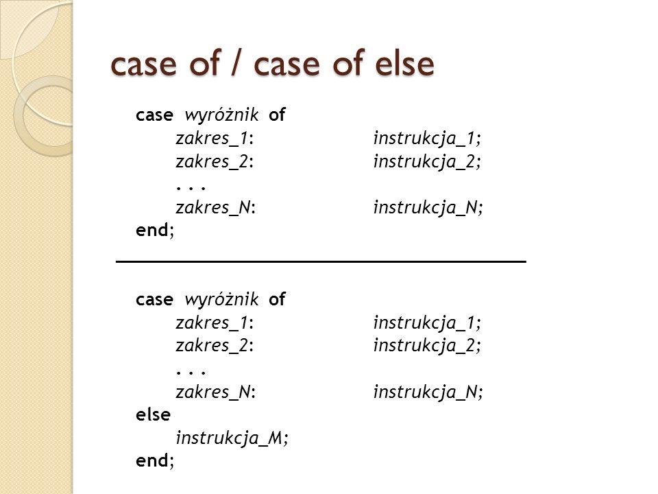 case of / case of else case wyróżnik of zakres_1:instrukcja_1; zakres_2:instrukcja_2;... zakres_N:instrukcja_N; end; _________________________________