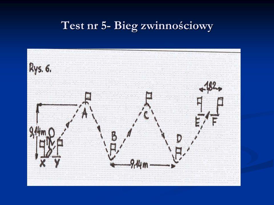 Test nr 5- Bieg zwinnościowy