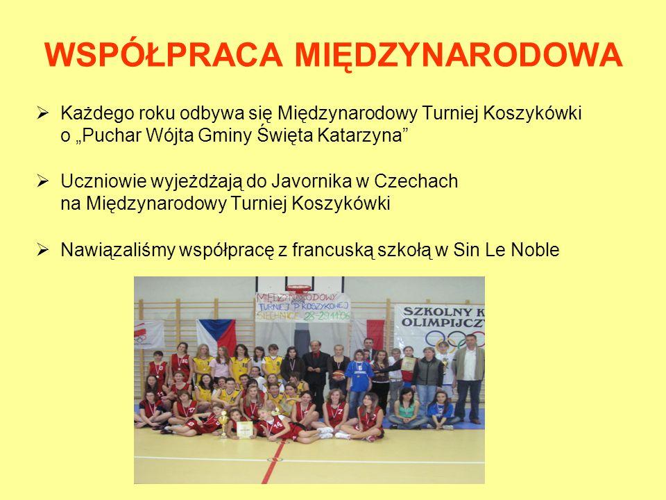 WSPÓŁPRACA MIĘDZYNARODOWA Każdego roku odbywa się Międzynarodowy Turniej Koszykówki o Puchar Wójta Gminy Święta Katarzyna Uczniowie wyjeżdżają do Javo