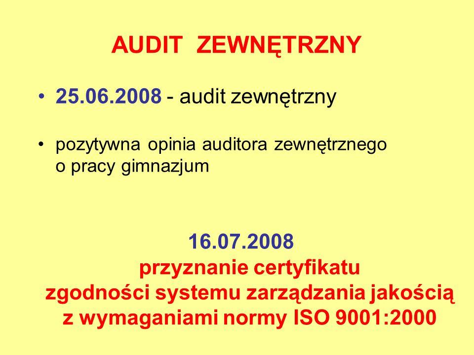 AUDIT ZEWNĘTRZNY 16.07.2008 przyznanie certyfikatu zgodności systemu zarządzania jakością z wymaganiami normy ISO 9001:2000 25.06.2008 - audit zewnętr