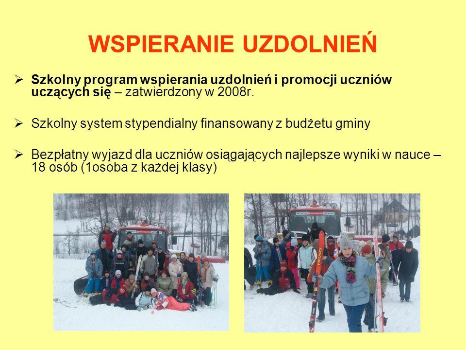 WSPIERANIE UZDOLNIEŃ Szkolny program wspierania uzdolnień i promocji uczniów uczących się – zatwierdzony w 2008r. Szkolny system stypendialny finansow
