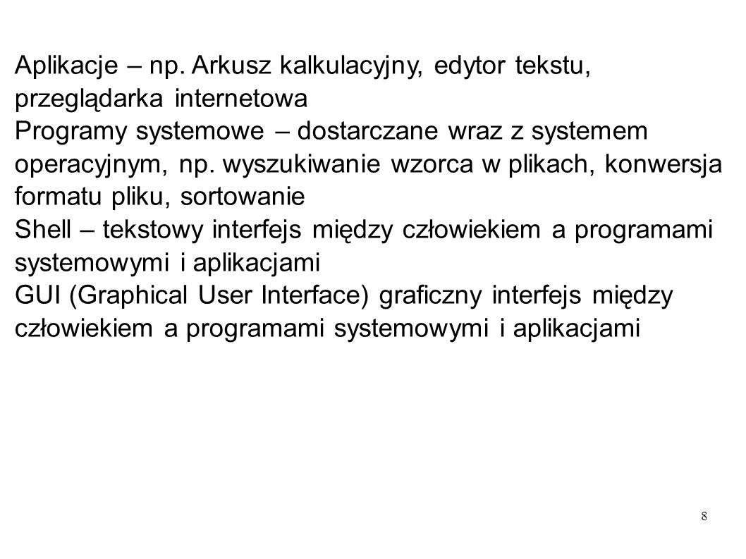 8 Aplikacje – np. Arkusz kalkulacyjny, edytor tekstu, przeglądarka internetowa Programy systemowe – dostarczane wraz z systemem operacyjnym, np. wyszu