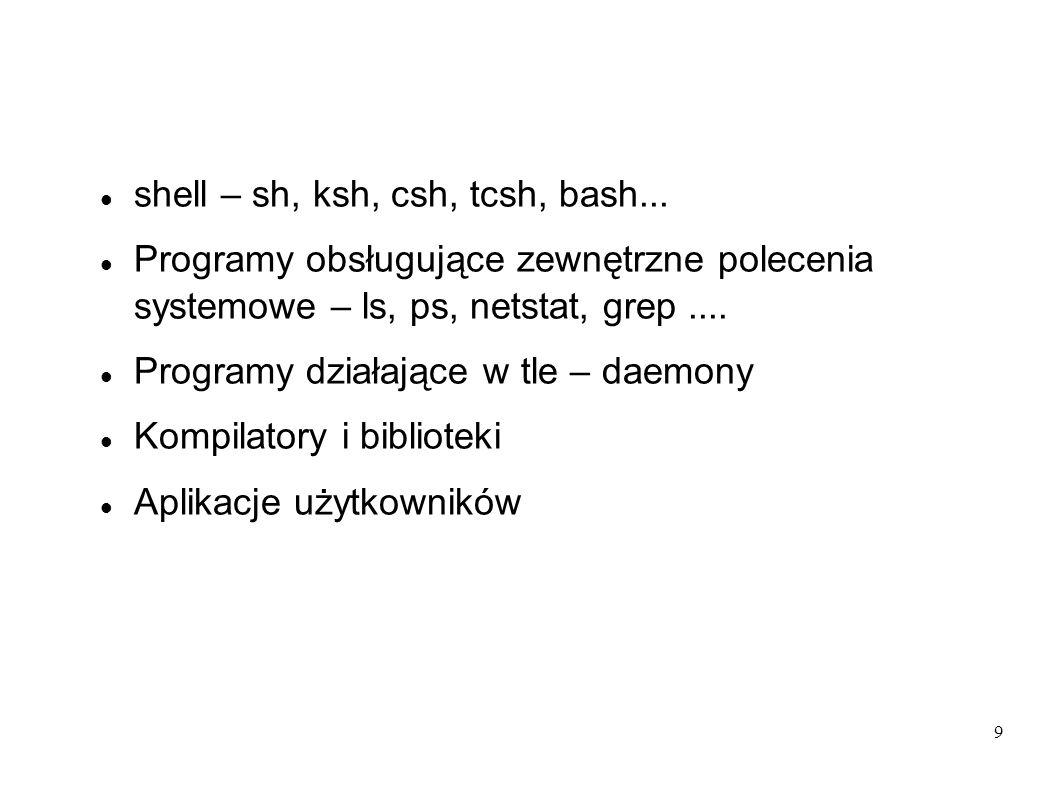 9 shell – sh, ksh, csh, tcsh, bash... Programy obsługujące zewnętrzne polecenia systemowe – ls, ps, netstat, grep.... Programy działające w tle – daem