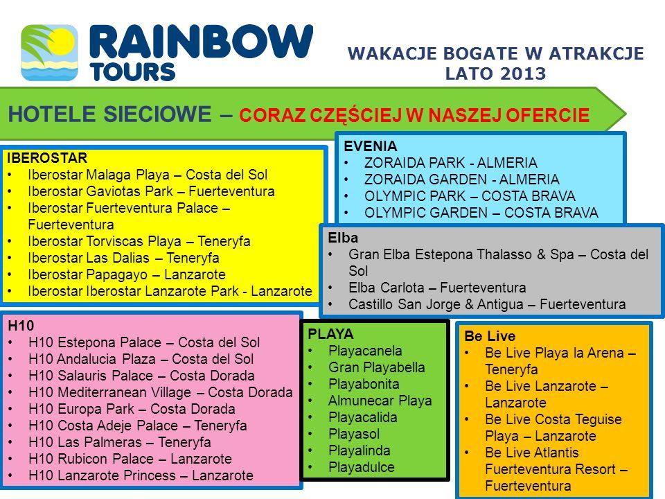 Hiszpania – Costa Almeria MEDITERRANEO PARK **** Dogodna lokalizacja – niedaleko centrum kurortu Roquetas de Mar, tuż przy żwirowej plaży Świetna propozycja dla rodzin z dziećmi All inclusive w cenie Pokoje typu Village dla Klientów Rainbow Tours WAKACJE BOGATE W ATRAKCJE LATO 2013