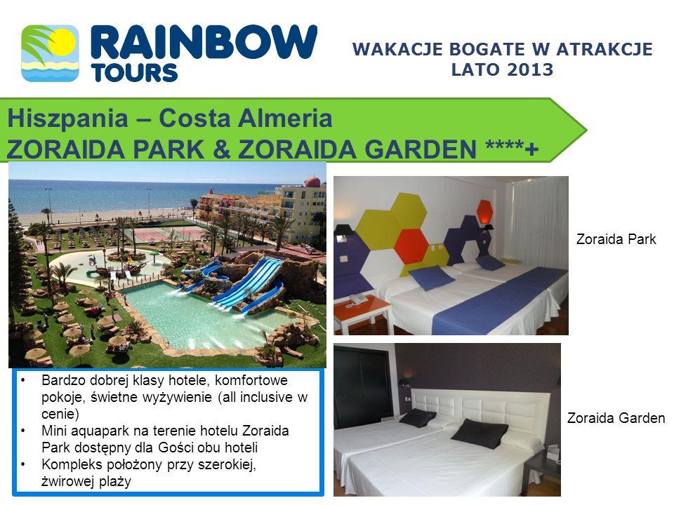Hiszpania – Costa Almeria ZORAIDA PARK & ZORAIDA GARDEN ****+ Bardzo dobrej klasy hotele, komfortowe pokoje, świetne wyżywienie (all inclusive w cenie