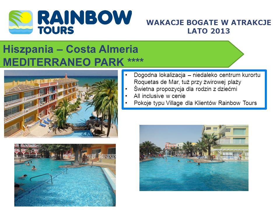Hiszpania – Costa Almeria MEDITERRANEO PARK **** Dogodna lokalizacja – niedaleko centrum kurortu Roquetas de Mar, tuż przy żwirowej plaży Świetna prop