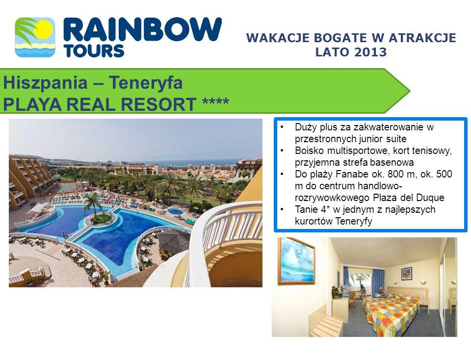 Hiszpania – Teneryfa PLAYA REAL RESORT **** Duży plus za zakwaterowanie w przestronnych junior suite Boisko multisportowe, kort tenisowy, przyjemna st