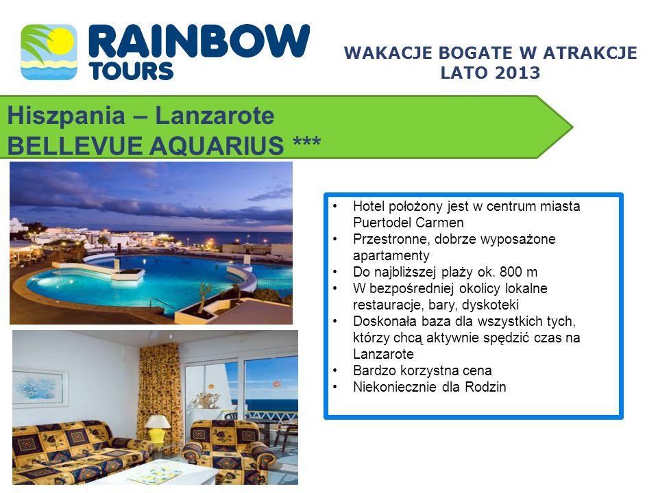 Hiszpania – Lanzarote BELLEVUE AQUARIUS *** WAKACJE BOGATE W ATRAKCJE LATO 2013 Hotel położony jest w centrum miasta Puertodel Carmen Przestronne, dob