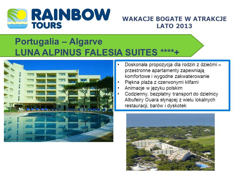 Portugalia – Algarve LUNA ALPINUS FALESIA SUITES ****+ Doskonała propozycja dla rodzin z dziećmi – przestronne apartamenty zapewniają komfortowe i wyg