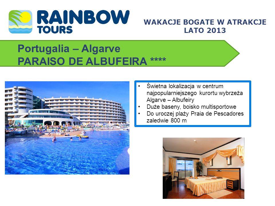 Portugalia – Algarve AURAMAR BEACH RESORT ***+ Perfekcyjna lokalizacja – piaszczysta plaża z łagodnym zejściem do morza przy samym hotelu Duży teren hotelowy, bezpłatny kort tenisowy dla Gości hotelu Dobra propozycja dla rodzin z dziećmi i ludzi młodych WAKACJE BOGATE W ATRAKCJE LATO 2013