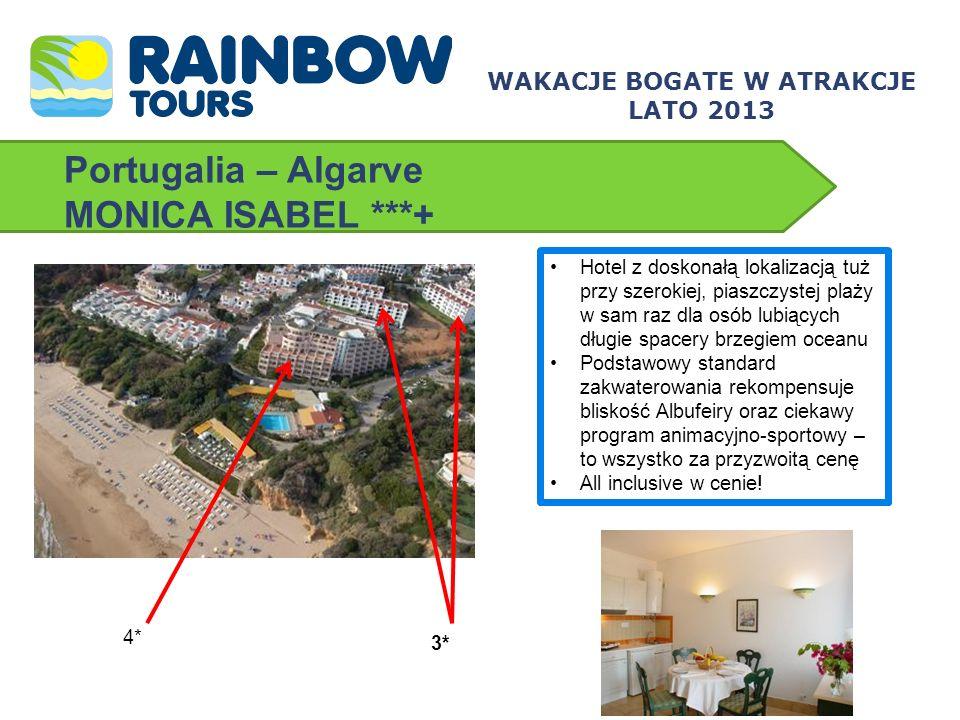 Portugalia – Algarve MONICA ISABEL ***+ Hotel z doskonałą lokalizacją tuż przy szerokiej, piaszczystej plaży w sam raz dla osób lubiących długie space