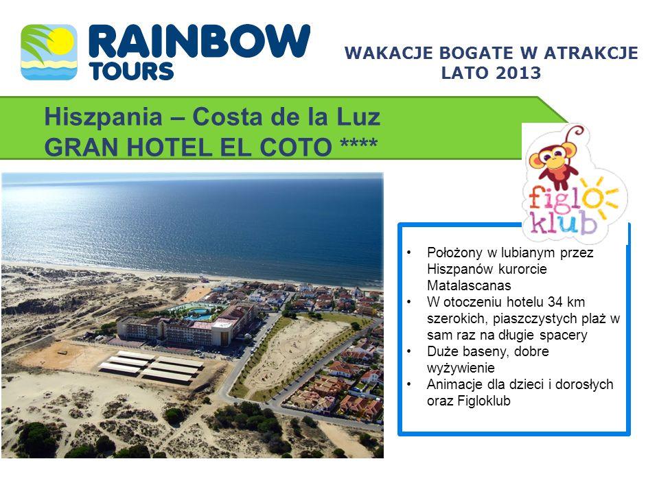 Hiszpania – Costa de la Luz GRAN HOTEL EL COTO **** Położony w lubianym przez Hiszpanów kurorcie Matalascanas W otoczeniu hotelu 34 km szerokich, pias