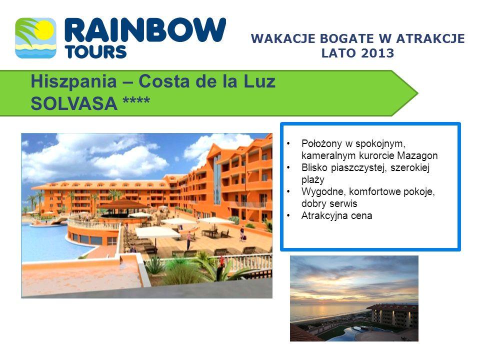 Hiszpania – Costa de la Luz SOLVASA **** Położony w spokojnym, kameralnym kurorcie Mazagon Blisko piaszczystej, szerokiej plaży Wygodne, komfortowe po