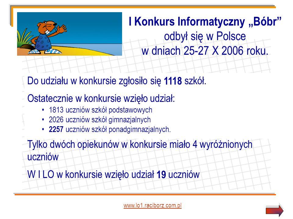 www.lo1.raciborz.com.pl Do udziału w konkursie zgłosiło się 1118 szkół.
