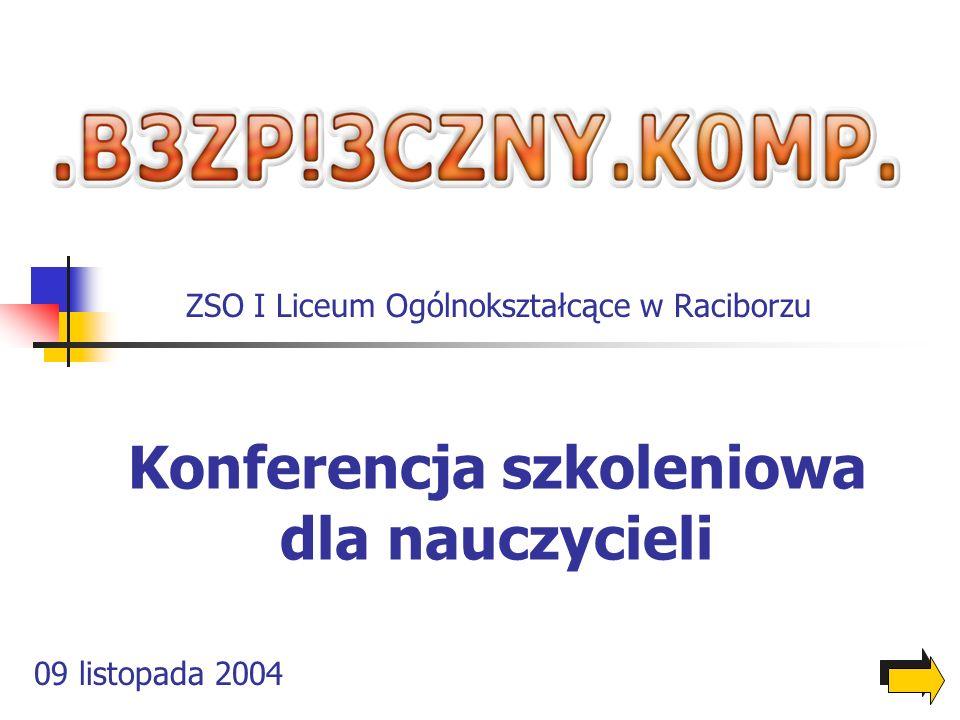 Konferencja szkoleniowa dla nauczycieli 09 listopada 2004 ZSO I Liceum Ogólnokształcące w Raciborzu