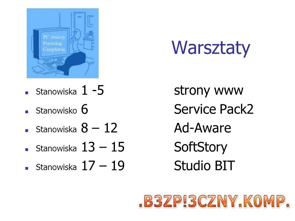 Warsztaty Stanowiska 1 -5 strony www Stanowisko 6 Service Pack2 Stanowiska 8 – 12Ad-Aware Stanowiska 13 – 15SoftStory Stanowiska 17 – 19 Studio BIT