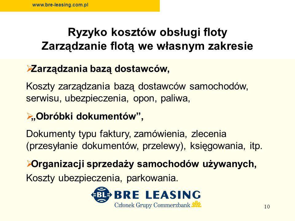 10 www.bre-leasing.com.pl Zarządzania bazą dostawców, Koszty zarządzania bazą dostawców samochodów, serwisu, ubezpieczenia, opon, paliwa, Obróbki dokumentów, Dokumenty typu faktury, zamówienia, zlecenia (przesyłanie dokumentów, przelewy), księgowania, itp.