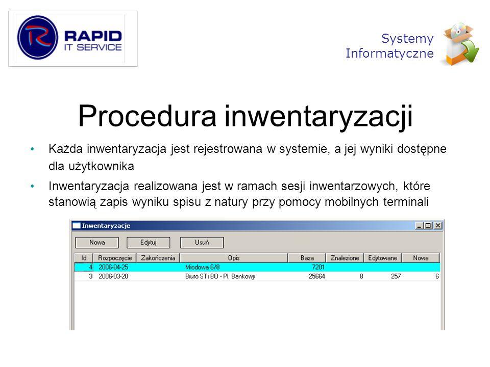 Procedura inwentaryzacji Każda inwentaryzacja jest rejestrowana w systemie, a jej wyniki dostępne dla użytkownika Inwentaryzacja realizowana jest w ra