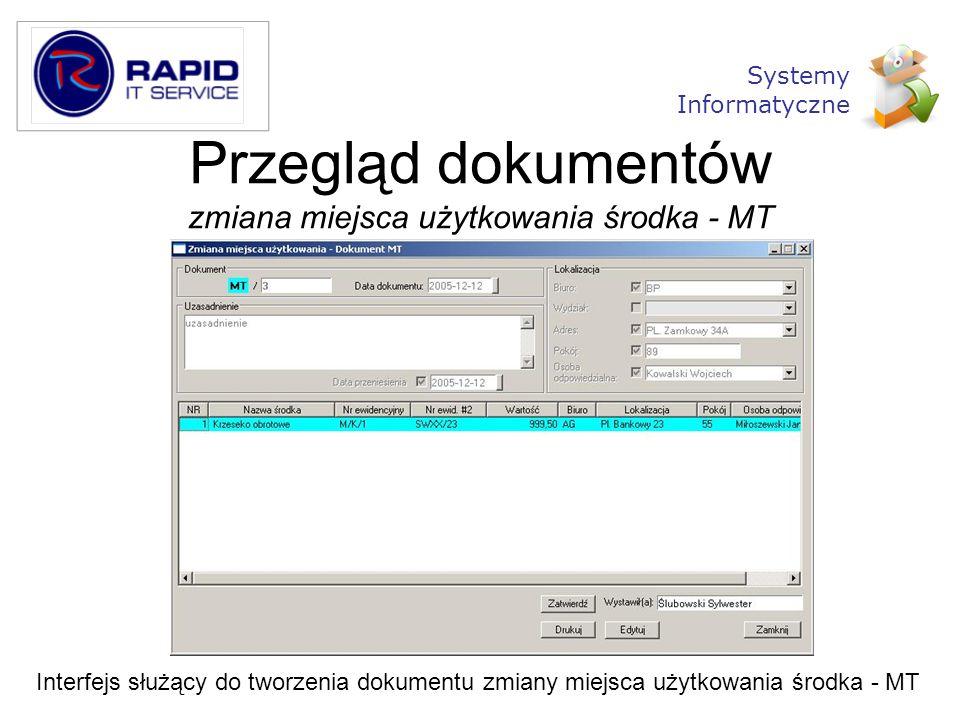 Przegląd dokumentów zmiana miejsca użytkowania środka - MT Interfejs służący do tworzenia dokumentu zmiany miejsca użytkowania środka - MT Systemy Inf