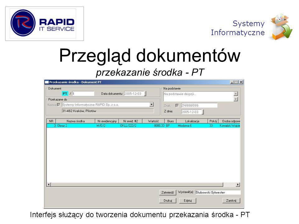 Przegląd dokumentów przekazanie środka - PT Interfejs służący do tworzenia dokumentu przekazania środka - PT Systemy Informatyczne