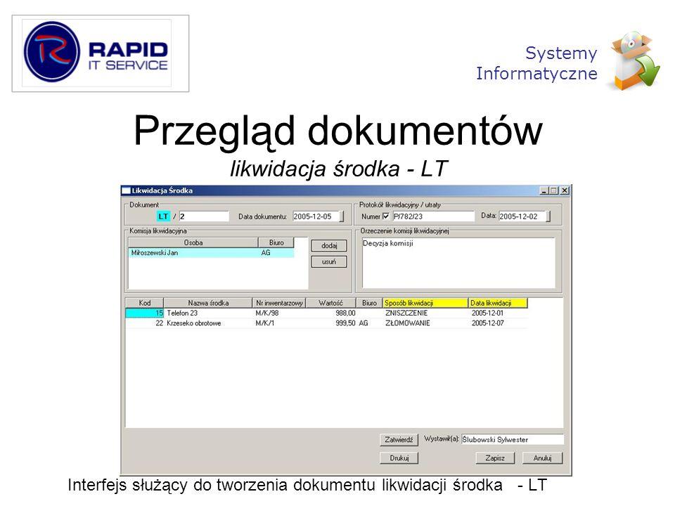 Przegląd dokumentów likwidacja środka - LT Interfejs służący do tworzenia dokumentu likwidacji środka - LT Systemy Informatyczne