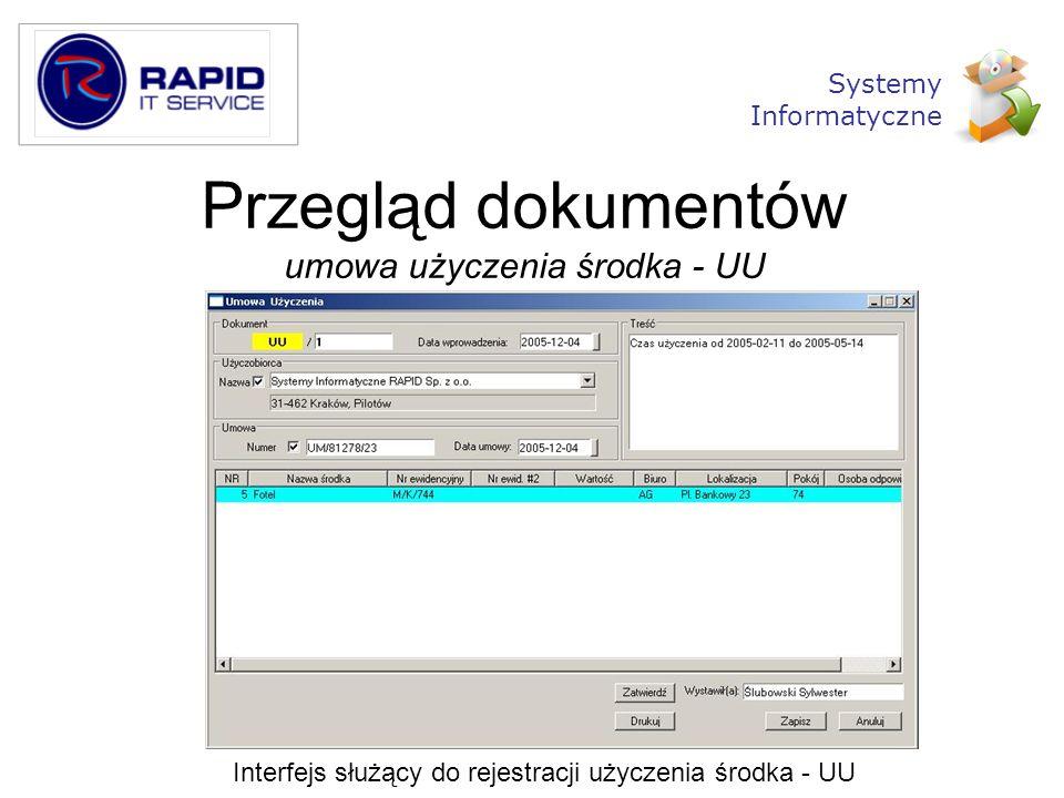 Przegląd dokumentów umowa użyczenia środka - UU Interfejs służący do rejestracji użyczenia środka - UU Systemy Informatyczne